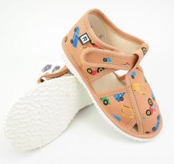 Detské papuče RAK 100015 - Béžové stroje