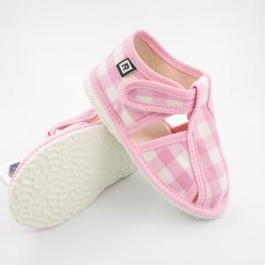 Detské papuče RAK 100015 - Baby ružová káro